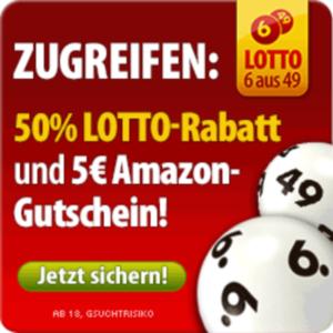 50 prozent lotto rabatt 5 euro amazon gutschein