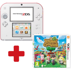 Nintendo 2DS blanc et rouge pack animal crossing