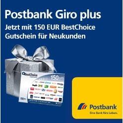 Postbank Giro Plus mit 150€ Gutschein