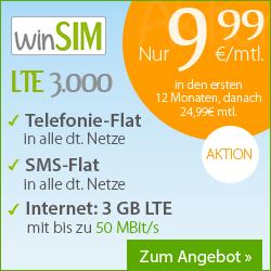 o2 Tarif mit 3GB LTE Datenflat, Sprachflat, SMS Flat + EU Vorteile für 18,74€/Monat