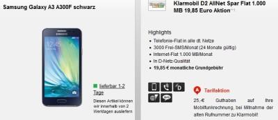 Klarmobil D2 AllNet Spar Flat 1.000 MB 19,85 Euro Aktion**1