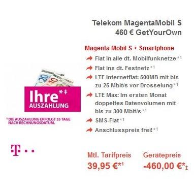 Telekom Magenta Mobil S & M Tarife – Auszahlung gegen Vorlage einer Handyrechnung