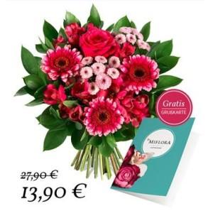Gruß und Kuss Blumenstrauß mit pinken Blüten