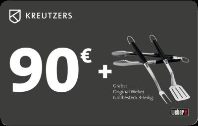 KREUTZERS-90€-Fleisch--und-Genussgutschein-inkl.-Original-Weber-Grillbesteck-3-tlg.--Grillbesteck-3-teilig.--