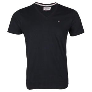 Tommy-Hilfiger-Denim-Herren-T-Shirt-Slim-Fit-PANSON-V-NECK-Schwarz
