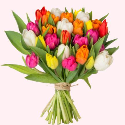💐 Blumenstrauß mit 35 bunten Tulpen
