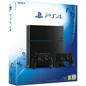 SONY-PlayStation-4-Konsole-CUH-1216B-1TB-Schwarz---2.-Dualshock-4-Controller---Vertikaler-Standfuß