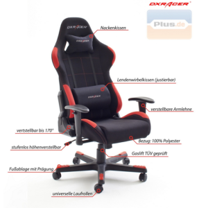schreibtischstuhl dxracer gamer chair grau schwarz mytopdeals. Black Bedroom Furniture Sets. Home Design Ideas