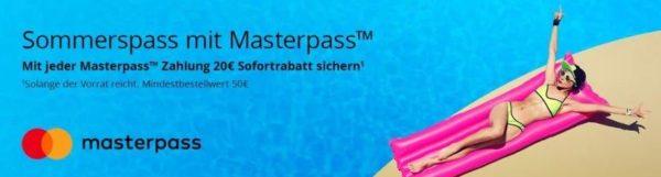 20 Euro Sofortrabatt bei 50 Euro MBW bei Zahlung mit Masterpass auf Technikdirekt