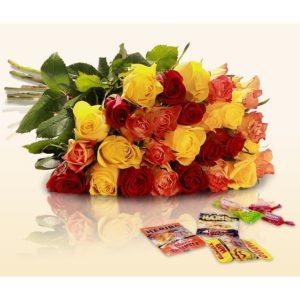 Rallye: 22 bunte Rosen + Süßigkeiten