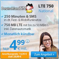 o2 Drillisch: 250 Min/SMS + 750MB LTE (mtl. kündbar)