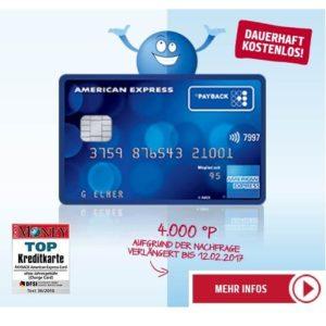 Payback Kreditkarte mit 1.000 Punkten (= 10€ Prämie)