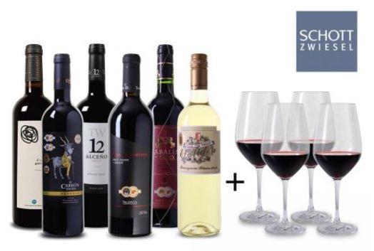 Wein Probierpaket Spanien 4 Glaeser 1