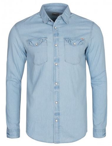 JACK and JONES JJVSEAN Shirt LS Western Noos Herren Jeans Hemd Blau