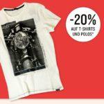 20% Rabatt auf T-Shirts & Polos, z.B. Shirt für 8€
