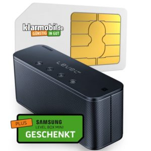 D2 Klarmobil: 100 Min + 1GB für 4,95€ mtl. + gratis Samsung Level Box mini