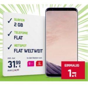 D1 / D2: Allnet-Flat mit 2GB UMTS + Samsung Galaxy S8 Plus für 32€ mtl.