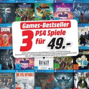 Media Markt: 3x Playstation 4 / Xbox One Games für nur 49€ bzw. 79€