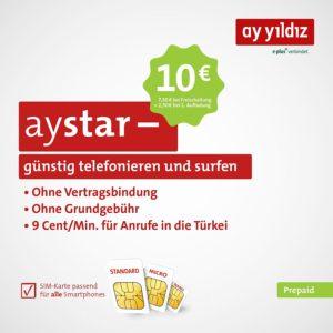 Gratis: AY YILDIZ Prepaid-Karte mit 10€ Guthaben (für Türkei Urlaub / Anrufe)