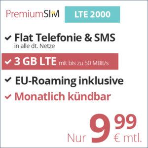 PremiumSIM: o2 Allnet-Flat + 3GB / 4GB / 10GB LTE + EU-Flat (mtl. kündbar)