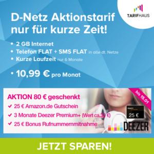 [TOP] D2 Allnet-Flat mit 2GB + div. Extras für nur 10,99€ mtl. (nur 6 Monate Laufzeit)