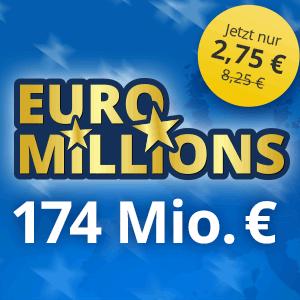 Für Neukunden: 3 Felder für den Euro Millions Jackpot für nur 2,75€