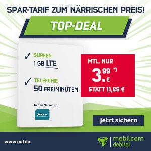 o2 Tarif mit 50 Min + 50 SMS + 1GB LTE + 40€ Amazon-Gutschein für nur 3,99€ mtl.