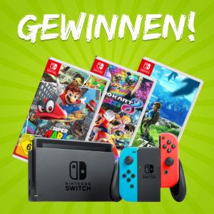 Wieder da: Gewinnt eine Nintendo Switch + 3 Games (via Messenger-Anmeldung)