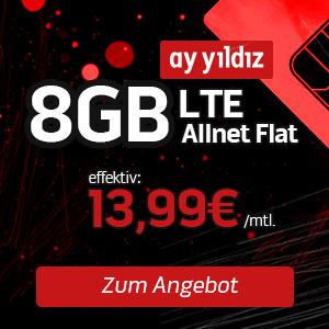 [TOP] o2: Ay Yildiz Allnet-Flat + 8GB LTE für eff. 13,99€ mtl. (SIM-Only)