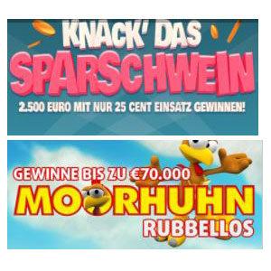 "Lottopalace: 40 Rubbellose ""Knack das Sparschwein"" + 20 Rubbellose ""Moorhuhn"""