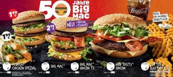 ankuendigung 50 jahre big mac u a big mac und mc wrap chicken spezial fuer 199e ab 22 03 2
