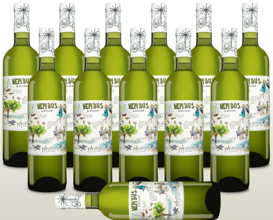 12 Fl. Nembus Blanco 2016 leichter Gute Laune Weisswein aus Spanien trocken