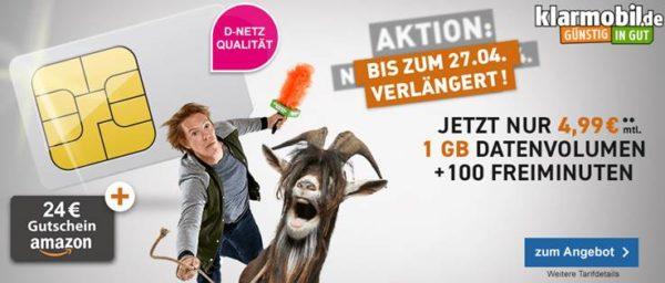 D1 Klarmobil Smart Flat 4 99 Euro monatlich mit 24 Euro Amazon Gutschein