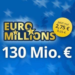 Für Neukunden: 3 Felder für den Euro Millions Jackpot (130 Mio) für nur 2,75€