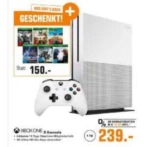 [TOP] Microsoft Xbox One S mit 1TB mit sechs Spielen für nur 239€