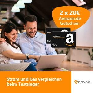Tipp: 2x 20€ Amazon-Gutschein für Strom- und Gas Anbieterwechsel (Verivox)