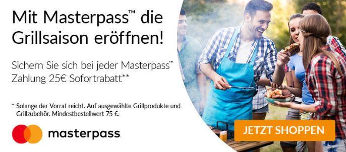 Masterpass Alternate 25 Euro Rabatt auf Grill Artikel