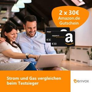 Tipp: 2x 30€ Amazon-Gutschein für Strom- und Gas Anbieterwechsel (Verivox)