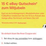 Ebay: 15€ Gutschein für alles (nur für neue/inaktive Nutzer, MBW: 20€)