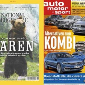 Jahresabos mit hohen Prämien, z.B. Auto Motor und Sport mit 110€ Amazon-GS