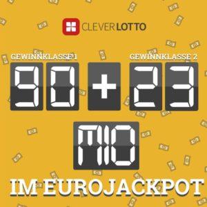 Gratis: 1x Eurojackpot mit 90 Mio € bei CleverLotto für Neukunden (Android/iOS)