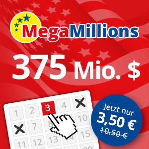 Mega Millions: 3 Felder für den 375 Mio Dollar Jackpot für 3,50€ (für Neukunden)