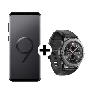 SAMSUNG Galaxy S9 Duos Mobile Care Edition Midnight Black Smartwatch Gear S3 Frontier SM R760NDAAATO
