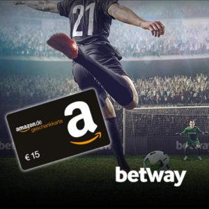 Nur 150x verfügbar: 10€ Wett-Einsatz bei betway + 15€ Amazon-Gutschein als Prämie!