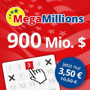 Mega Millions: 3 Felder für den 900 Mio. (!) Dollar Jackpot für 3,50€ (für Neukunden)