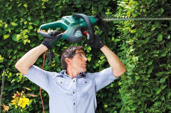 Bosch Home and Garden Elektro Heckenschere AHS 65 34 inklusive Handschuhe