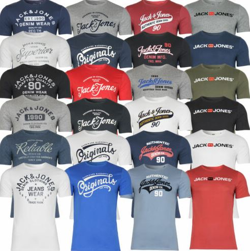 Jack Jones Herren T Shirt mit Rundhals Kurzarm Sport Clubwear Party UVP 1299