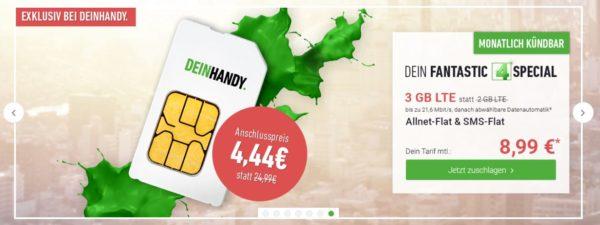 DeinHandy o2 Allnet Flat 3GB LTE 8 99 Euro