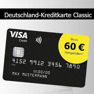 Deutschland VISA-Karte mit 60€ Startguthaben (beitragsfrei)