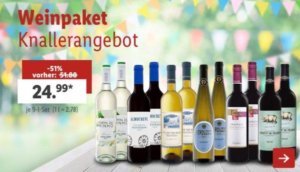 Lidl gemischtes Weinpaket 12 Weine 30 Euro